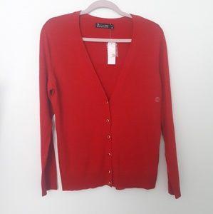 7 avenue red sweater cardigan